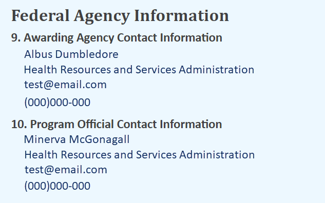 Screenshot of Federal Agency Information