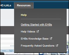 Resources Link to Getting Started with EHBs