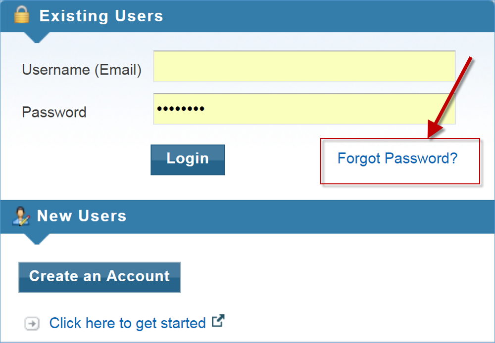 Screenshot of Login Page and Forgot Password Link