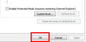 Screenshot of the Internet Options window - OK Button to accept changes
