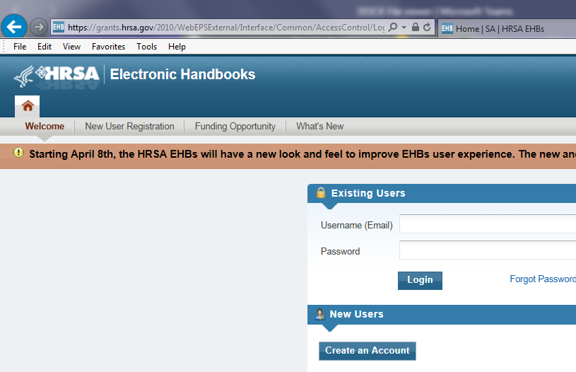 Image of EHBs login page -Internet Explorer 11