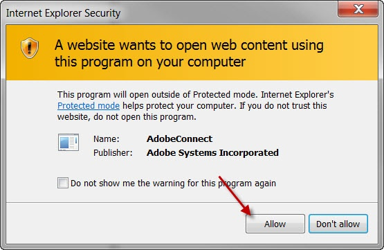 Internet Explorer Security Message asking if you want to allow the website to open a program