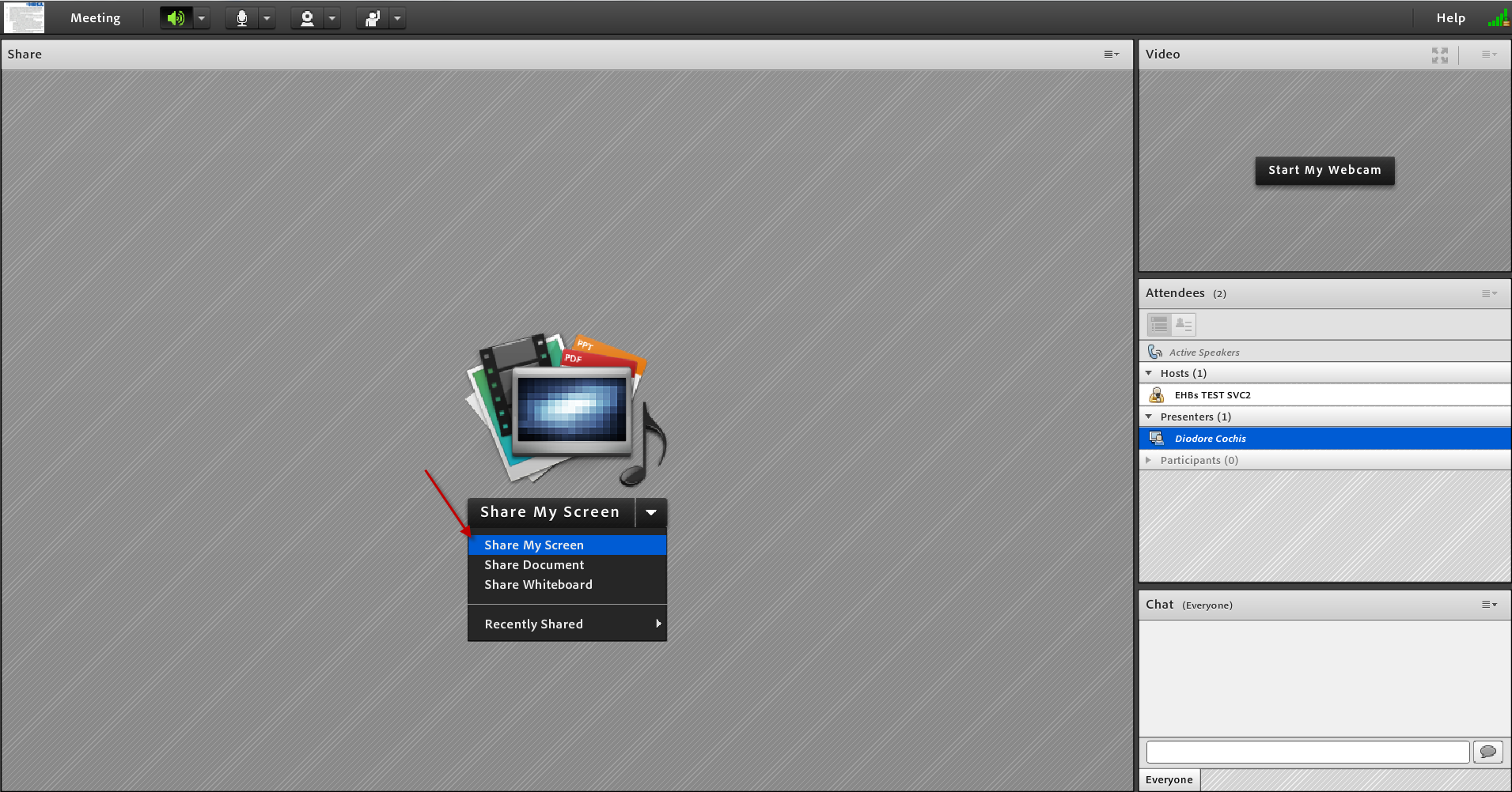 Screenshot of Adobe Connect Screen Sharing in progress