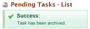 Success message stating Task has been archived