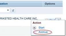 Option menu with Archive option circled