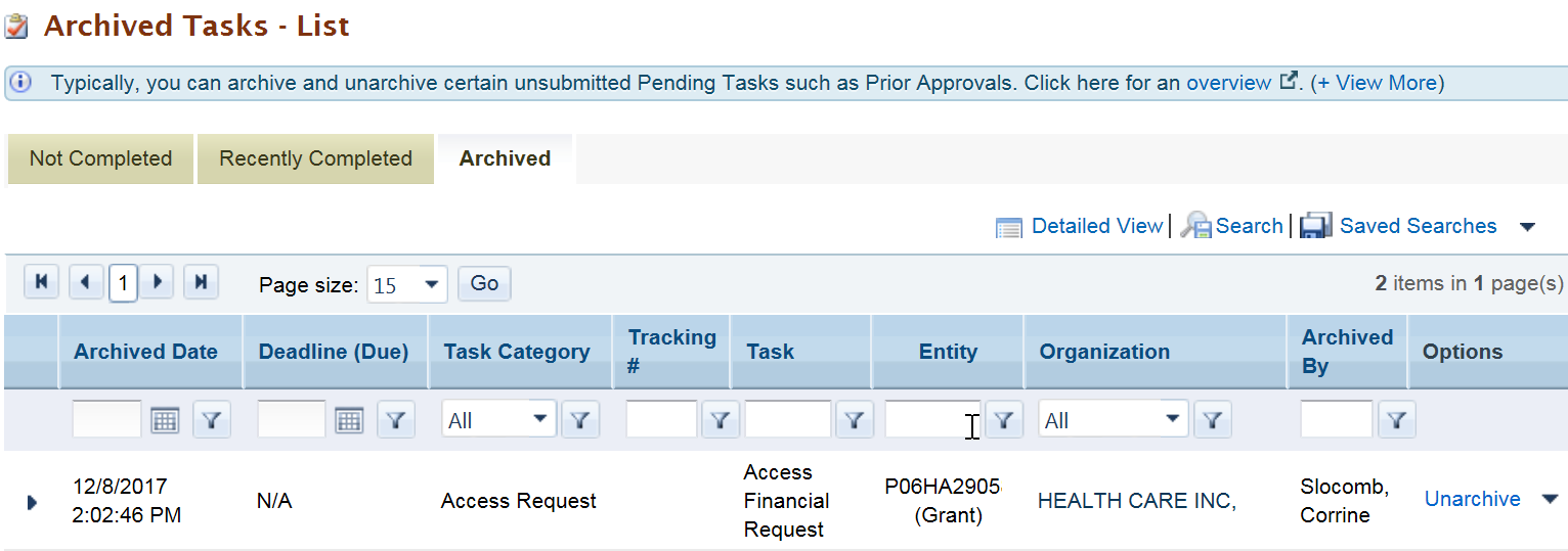 Screenshot of Archived Tab in Pending Tasks list