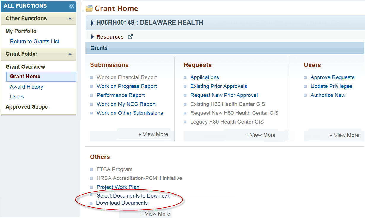 Grant Home with Download Documents link circled