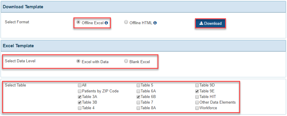Screenshot of selections to Download Offline Excel File with Data and specific tables