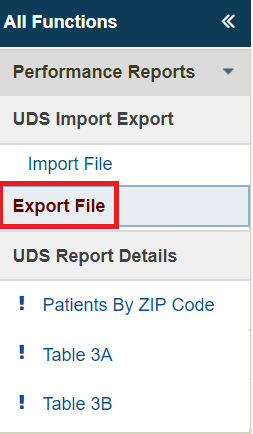 Screenshot of Export file button