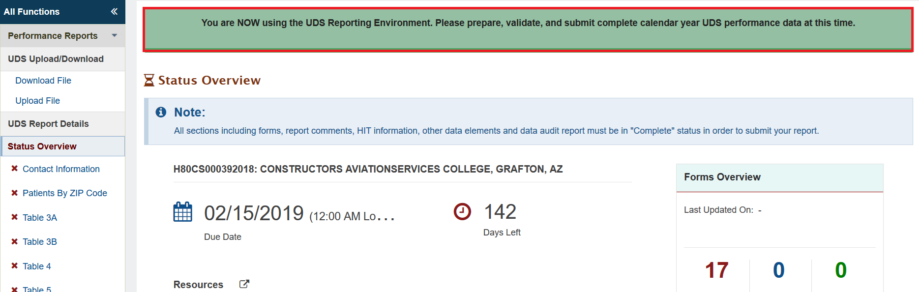 Screenshot of Main UDS reporting environment message on top of page