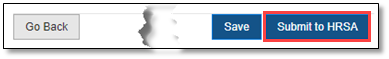 Screenshot of Submit to HRSA button